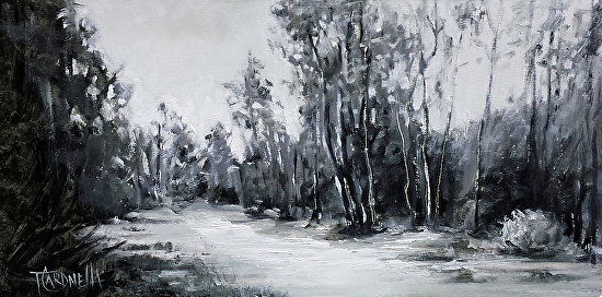 """Grey Estuary""  Oil on Canvas  6"" x 12"""