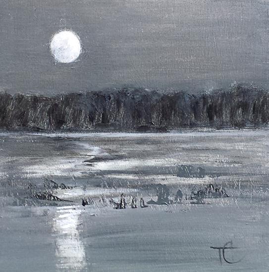 """""""Grey Full Moon""""  Oil on Canvas  8"""" x 8"""""""