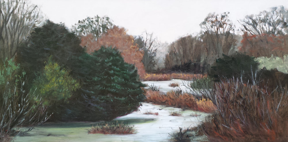 """Marsh Sanctuary""  Oil on Canvas  15"" x 30"""