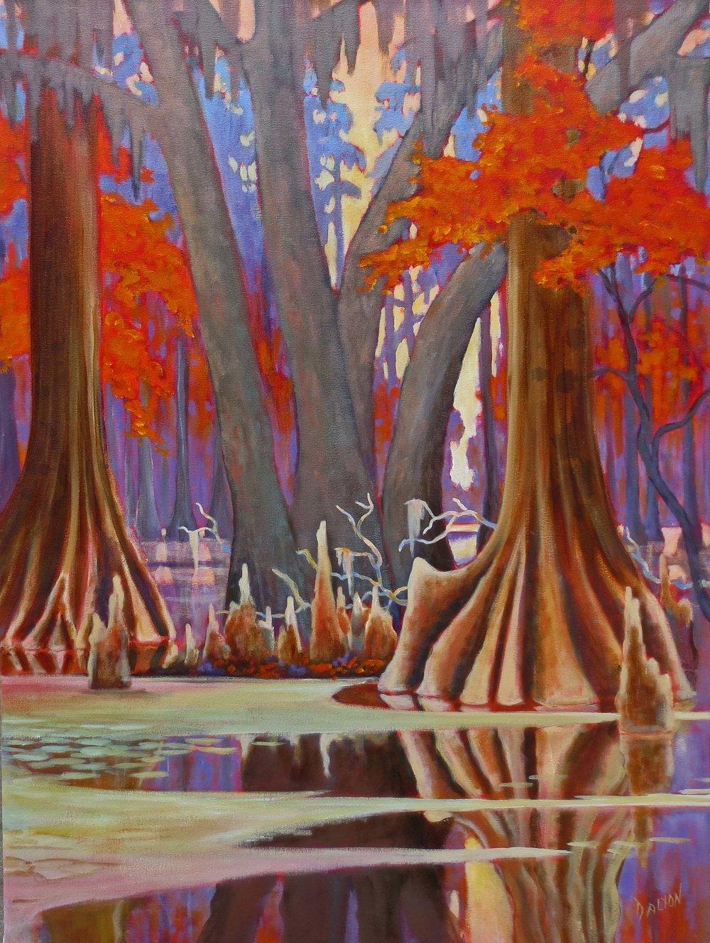"""Forest Swamp""  Acrylic on Canvas  48"" x 32"""
