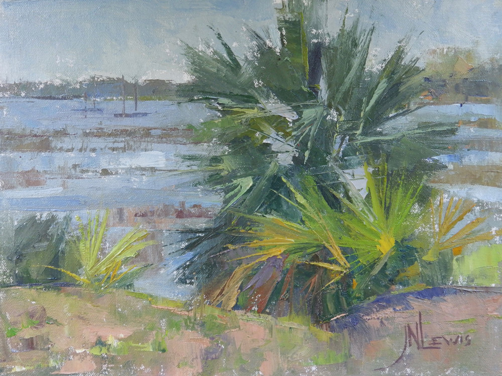 """Palmettos on Bay St""  Oil on Canvas  9"" x 12"""