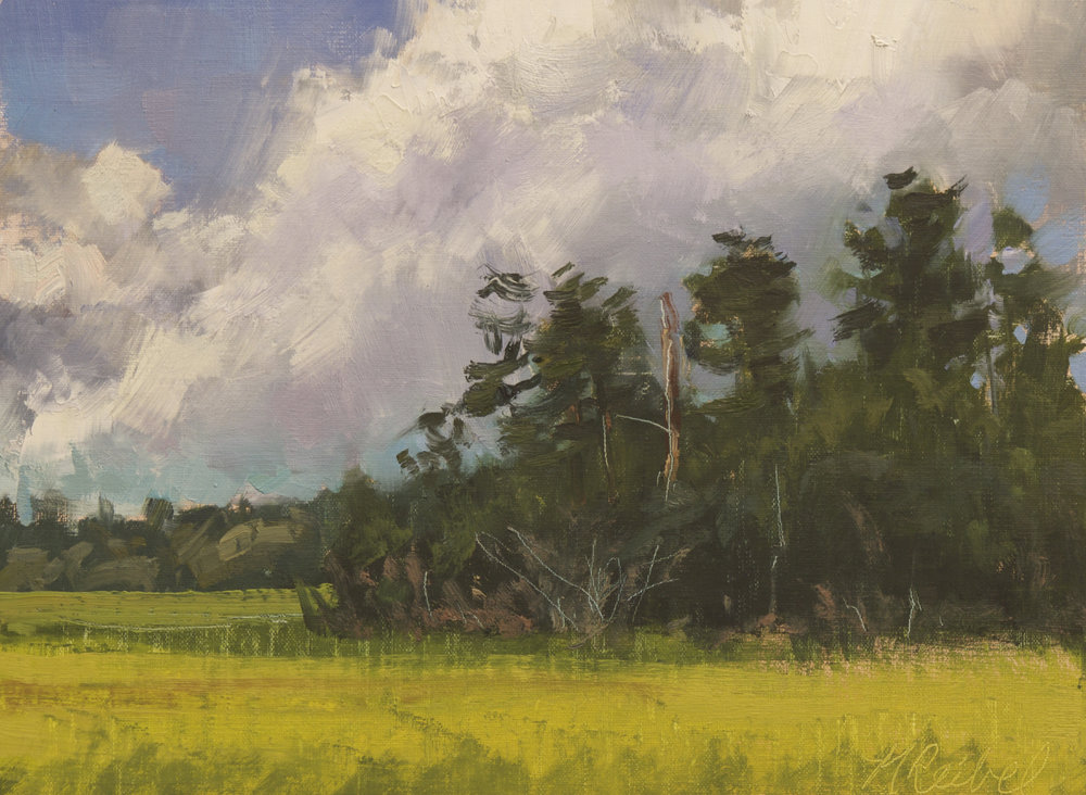 """Clouds Over Huspah Creek""  Oil on Linen  9"" x 12"""