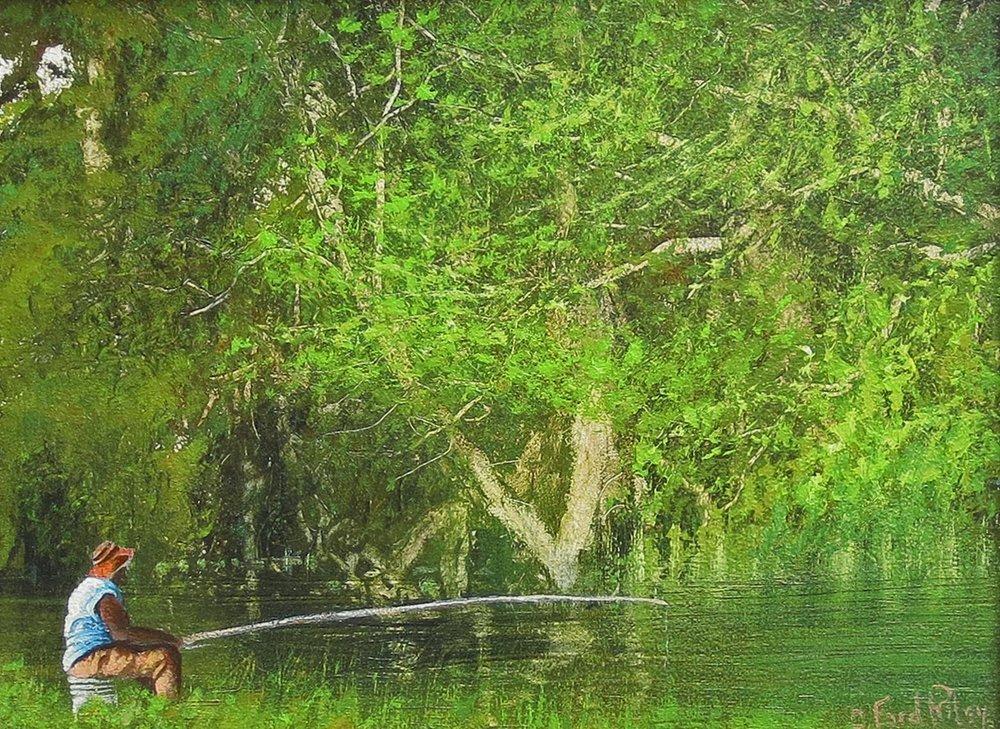 """Creek Fishing""  Oil on Panel  9"" x 12"""