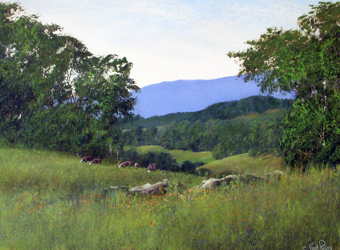 """Moses Cone with Cows, Linville, NC""  Oil on Panel  18"" x 24"""