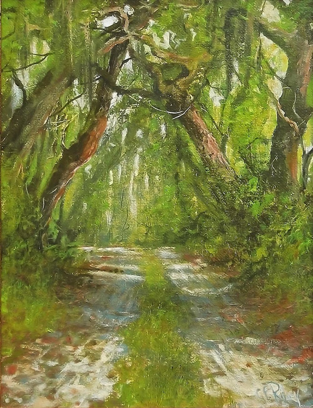 """""""Shady Road  Oil on Panel  12"""" x 9"""""""