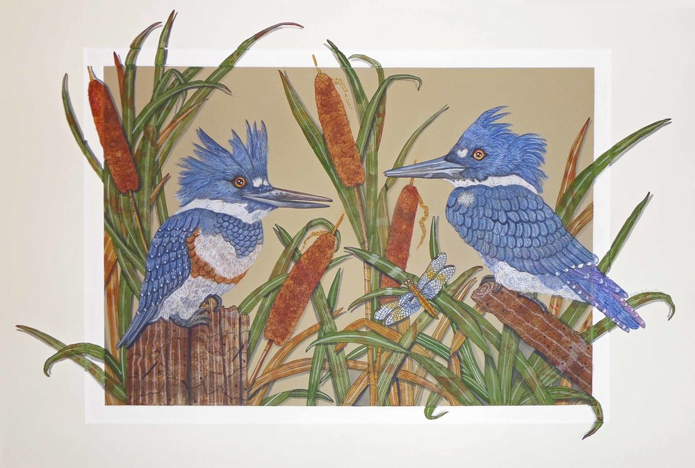 """Kingfisher Conversation""  Watercolor on Paper  22"" x 31"""