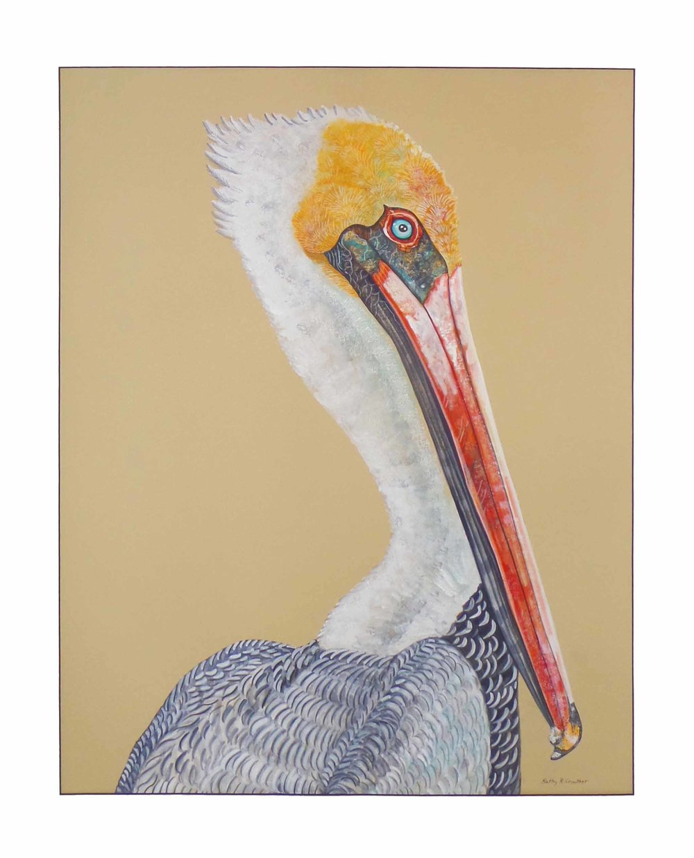 """Pelican Portrait""  Watercolor on Paper  41"" x 35"""
