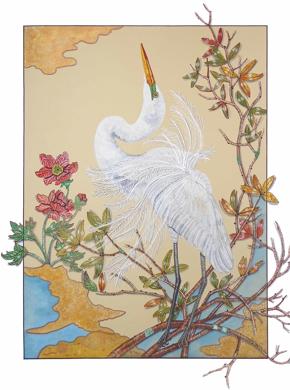 """White Heron""  Watercolor on Paper  35"" x 29"""