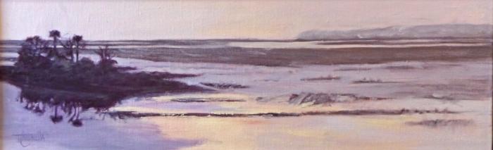 """Behrens View #1""  Oil on Canvas  6"" x 24"""
