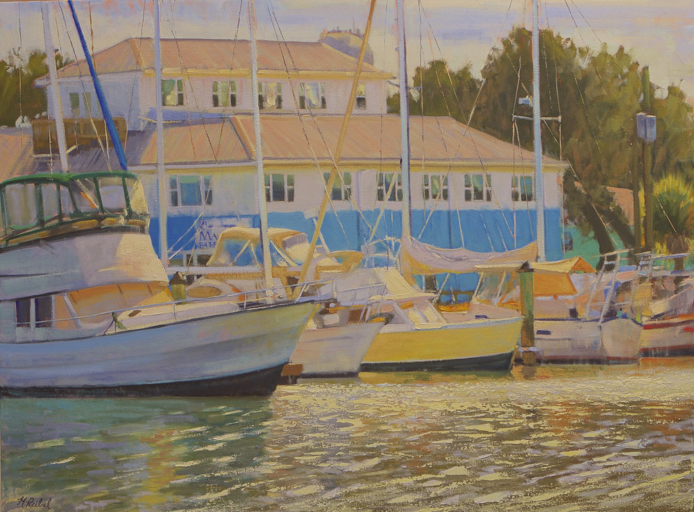 """Marina At Lady's Island""  Oil on Linen  36"" x 48"""