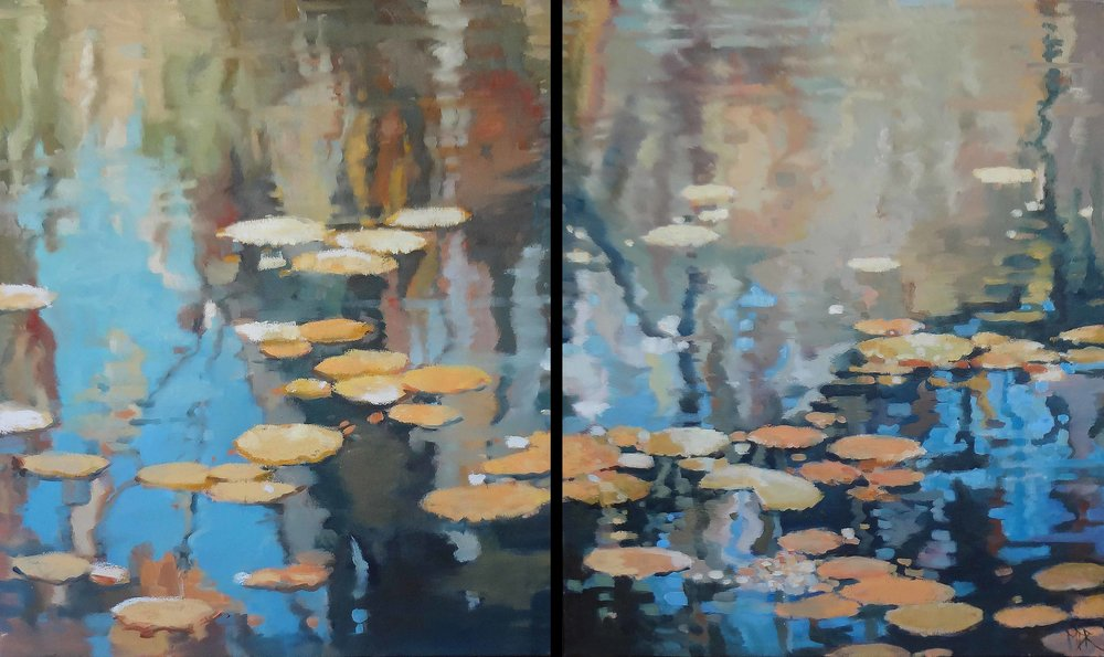 """Incoming I & II"" (diptych)  Oil on Canvas  36"" x 30"" (each)"