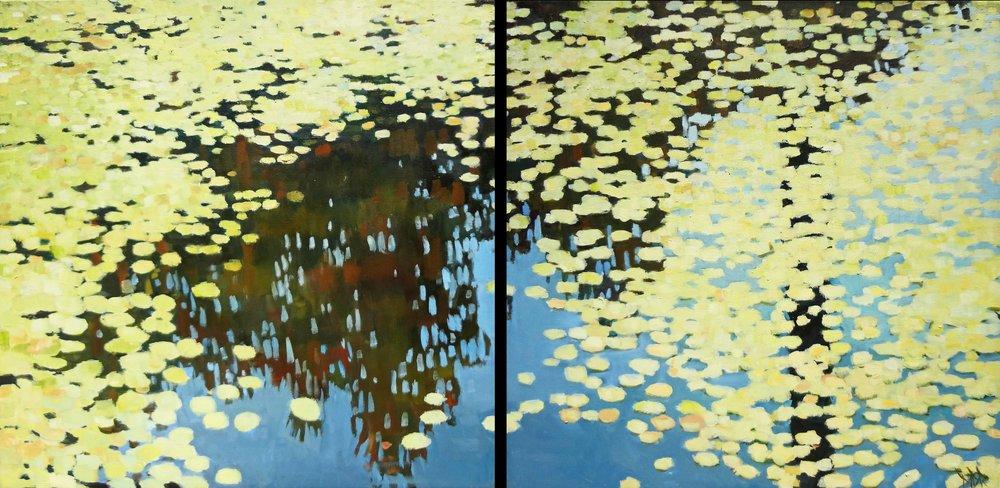 """""""Polka Dotty""""  Oil on Canvas  28"""" x 54"""" (Diptych)"""