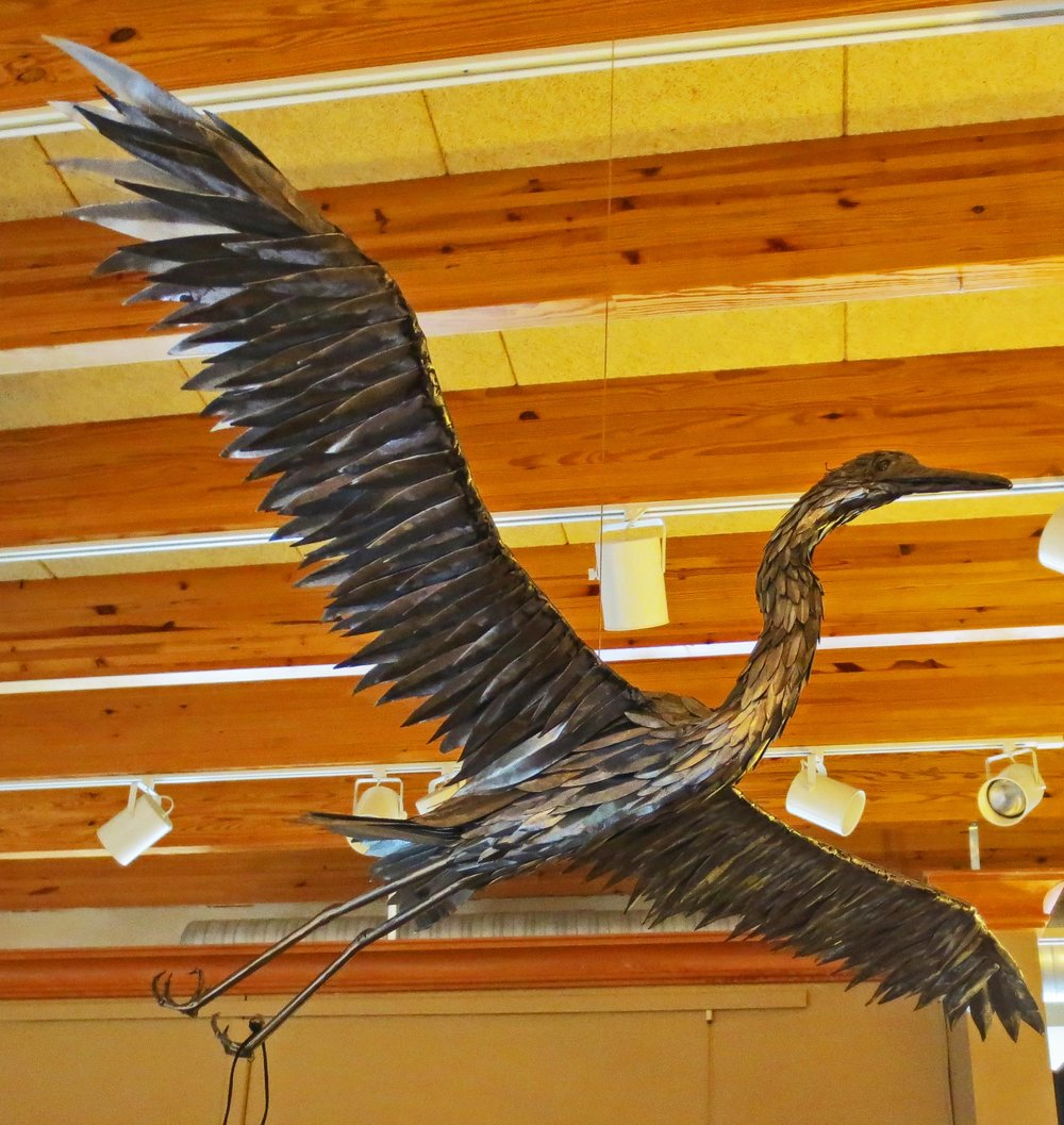 """Ascent""  Steel Egret In Flight  30"" x 55"""