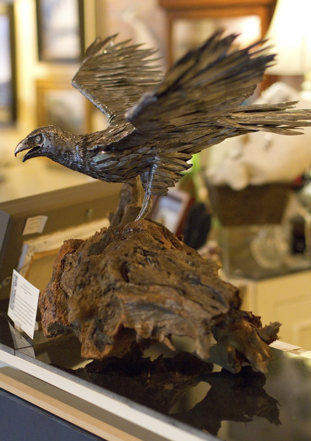 """High Tailin' It""  Bald Eagle Made of Steel & Driftwood"