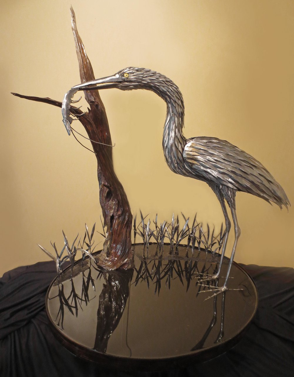 """Amanda's Find""  Steel Egret & Mixed Media"