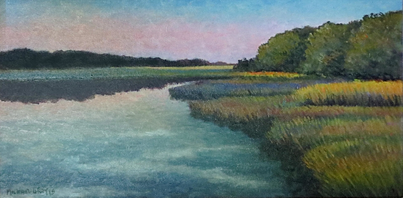 """Flat Fall Calm""/Serene Waters  Oil on Canvas  10"" x 20"""