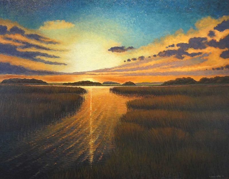 """Sunset on Rising Creek""  Oil on Canvas  36"" x 48"""
