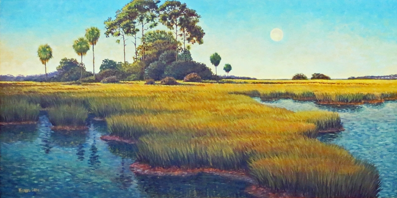 """Late Summer Moon""  Oil on Canvas  24"" x 48"""