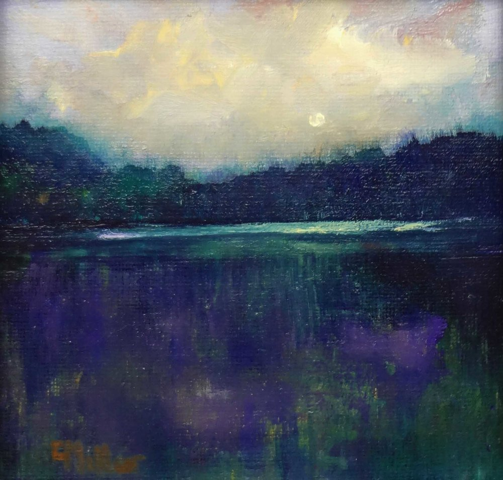 """Tidal Marshland""  Oil on Linen  6"" x 6"""