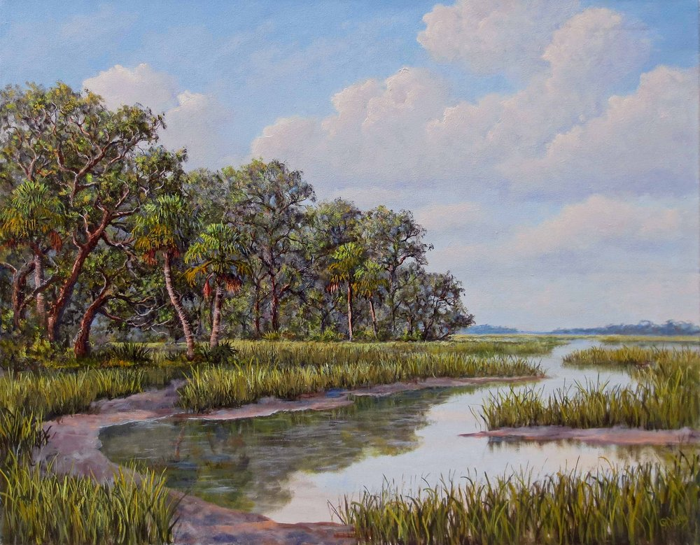 """""""Grass Bank""""  # 0716  Oil on Canvas  24"""" x 30"""""""