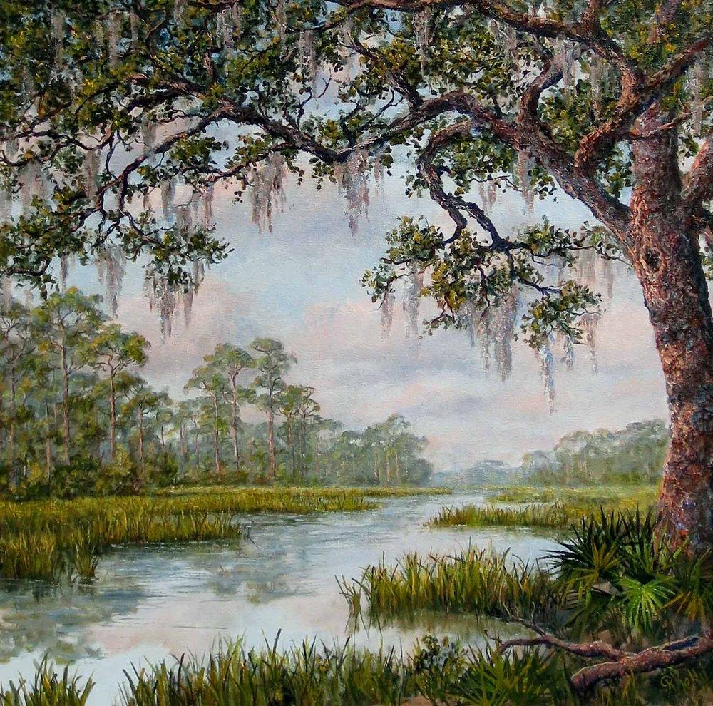 """""""Oak Bank""""  #0116  Oil on Canvas  25.75"""" x 25.75"""""""