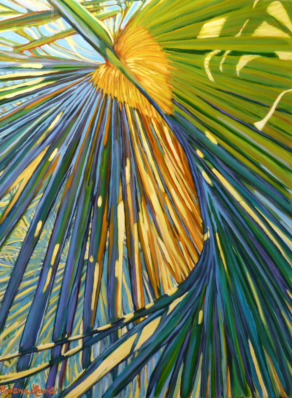 """Shades of Blue Frond 1""  Oil on Canvas  24"" x 18"""