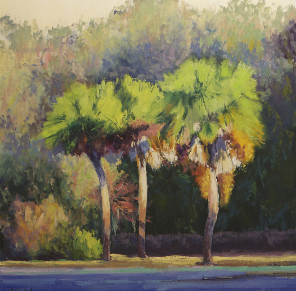 """Palm Tree Illumination""  Oil on Linen  36"" x 36"""