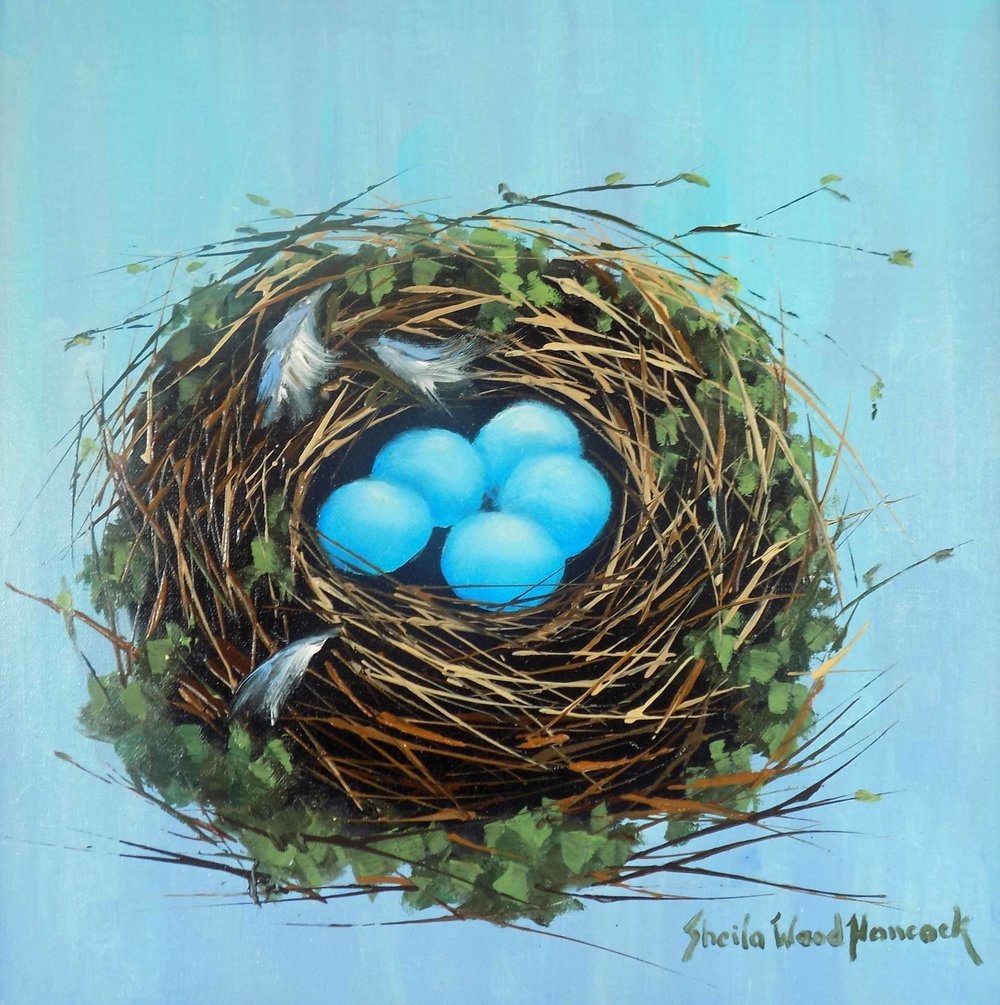 """Blue Bird Nest""  Oil on Board  12"" x 12"""