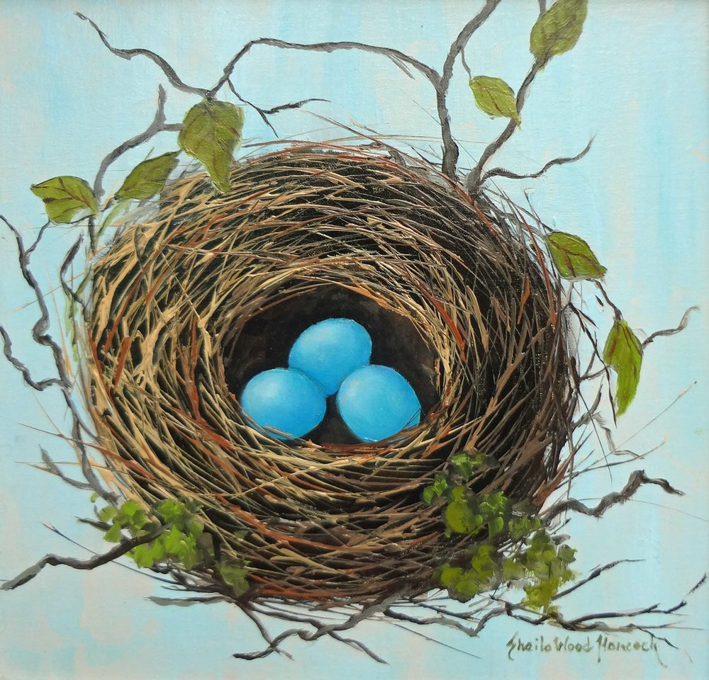 """House Finch Nest""  Oil on Board  12"" x 12"""