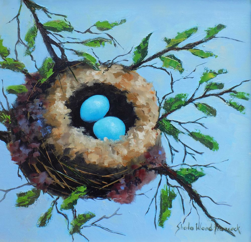 """Humming Bird Nest""  Oil on Board  12"" x 12"""