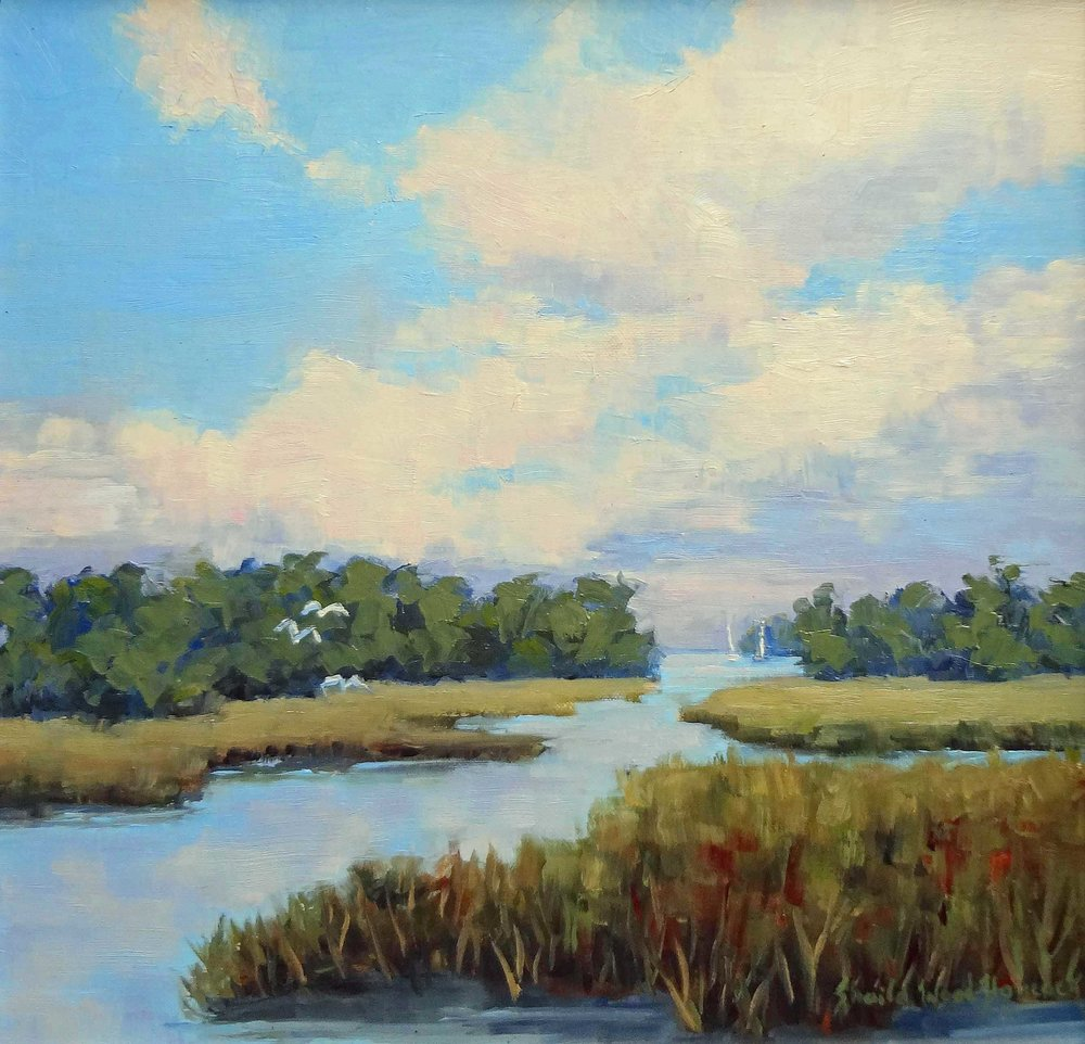 """""""Sails In the Lowcountry""""  Oil on Board  12"""" x 12"""""""