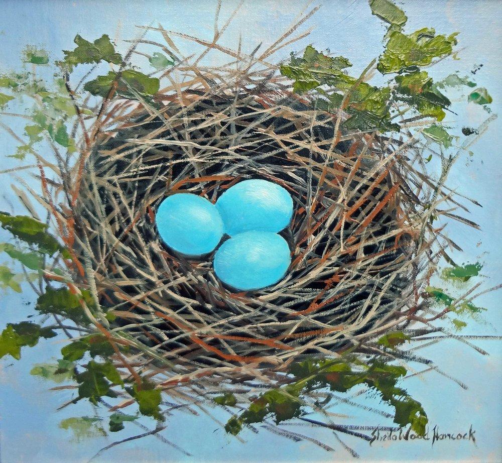"""""""Snowy Egret Nest""""  Oil on Board  12"""" x 12"""""""