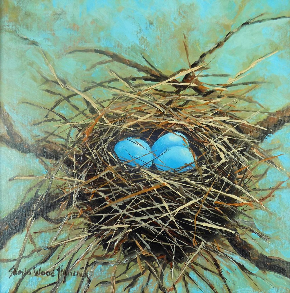 """Snowy Egret Nest""  Oil on Board  12"" x 12"""