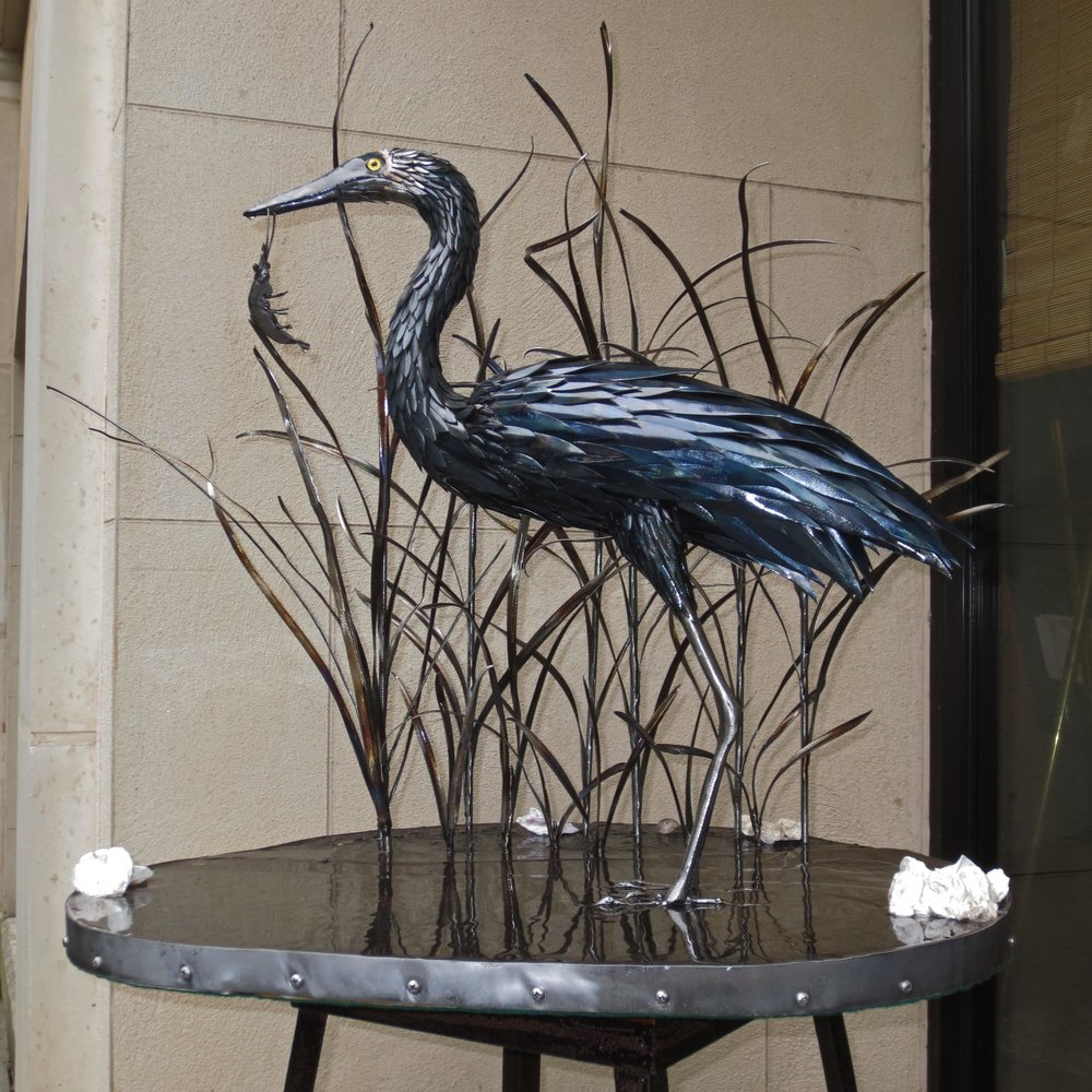 "Sold   ""Waterfront Dining""  Steel Egret and Mixed Media Base"