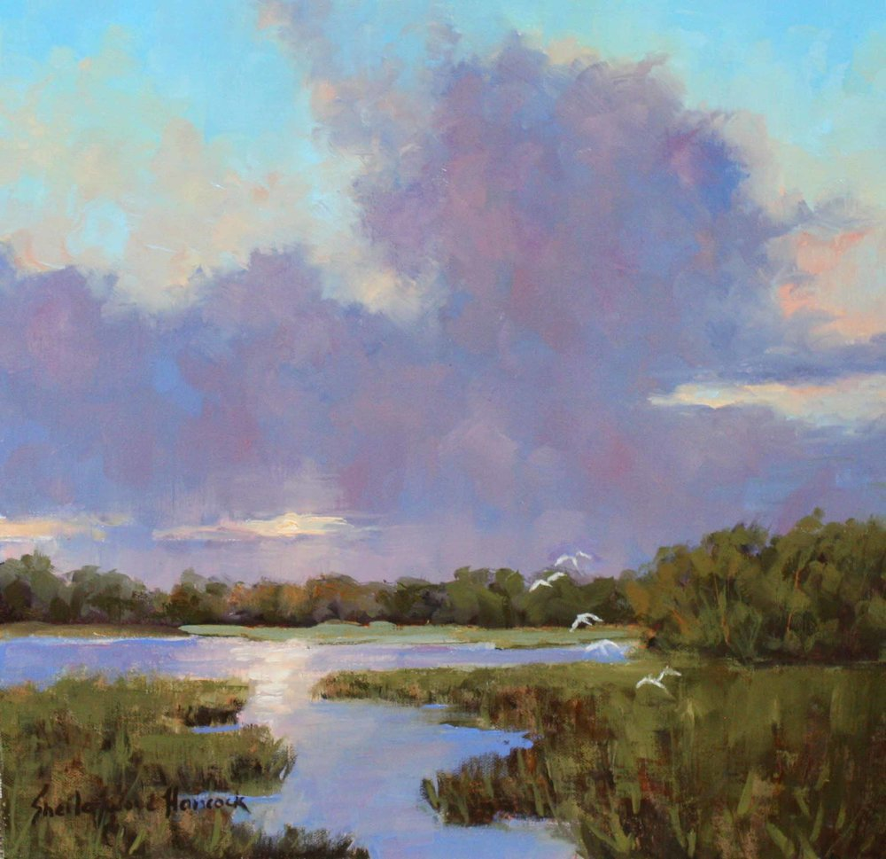"""Low Country Dawn""  Oil on Board  12"" x 12"""