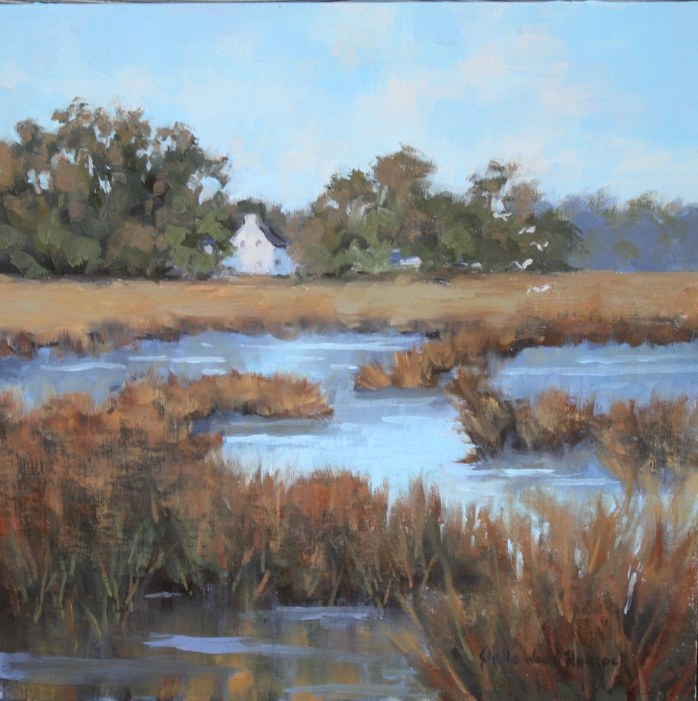 """House On The Marsh""  Oil on Board  12"" x 12"""
