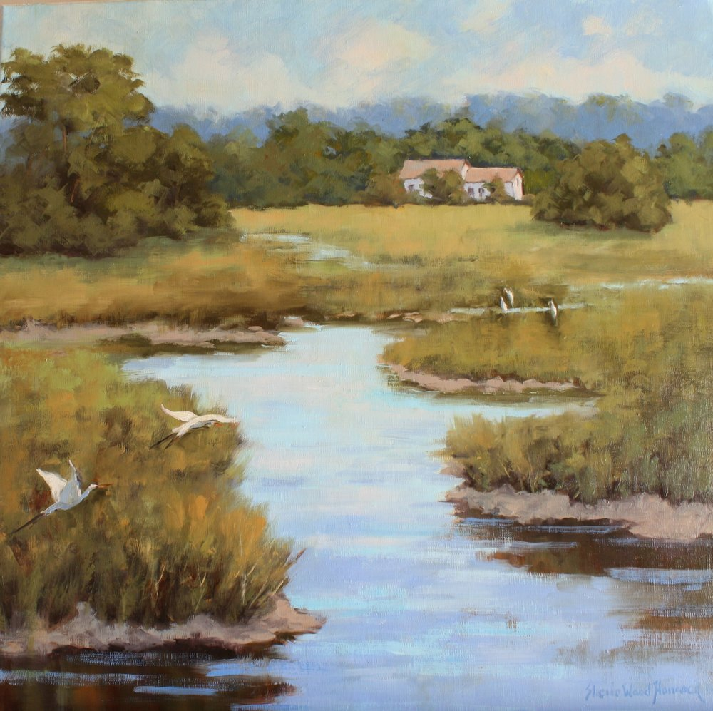 """White House On The Marsh""  Oil on Board  20"" x 20"""