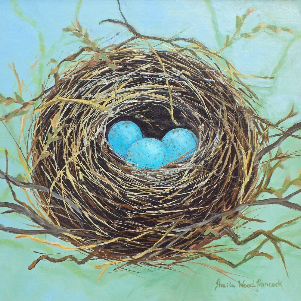 """Red Winged Black Bird Nest""  Oil on Board  12"" x 12"""