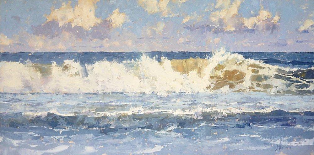 """""""The Long Breaker""""  Oil on Canvas  36"""" x 72"""""""
