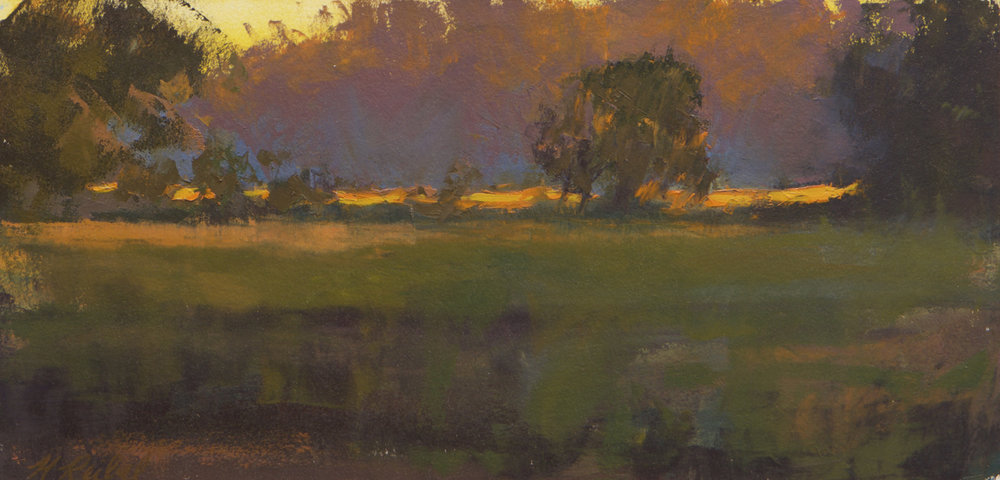 """Highway 21 Marsh, November""  Oil on Arches Paper  8"" x 16"""