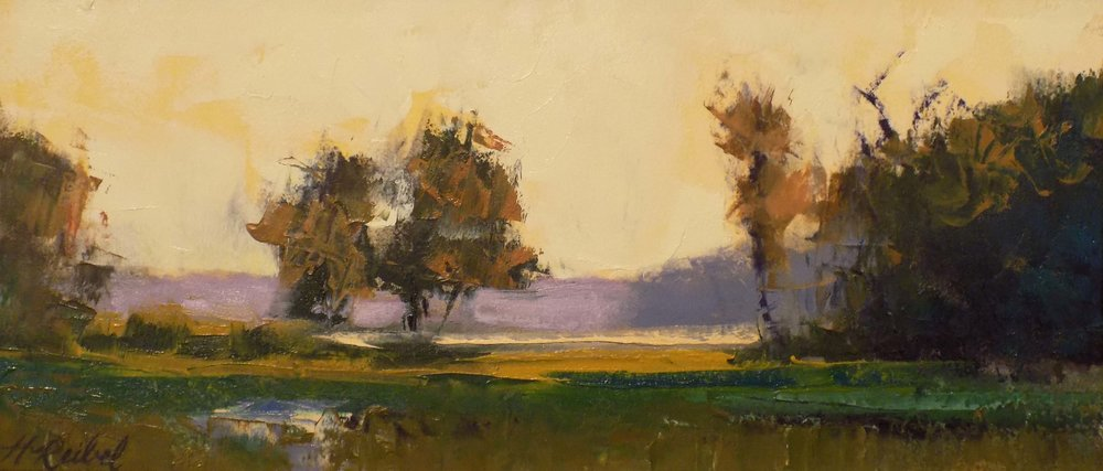 """Marsh Warmth""  Oil on Arches Paper  7"" x 16"""