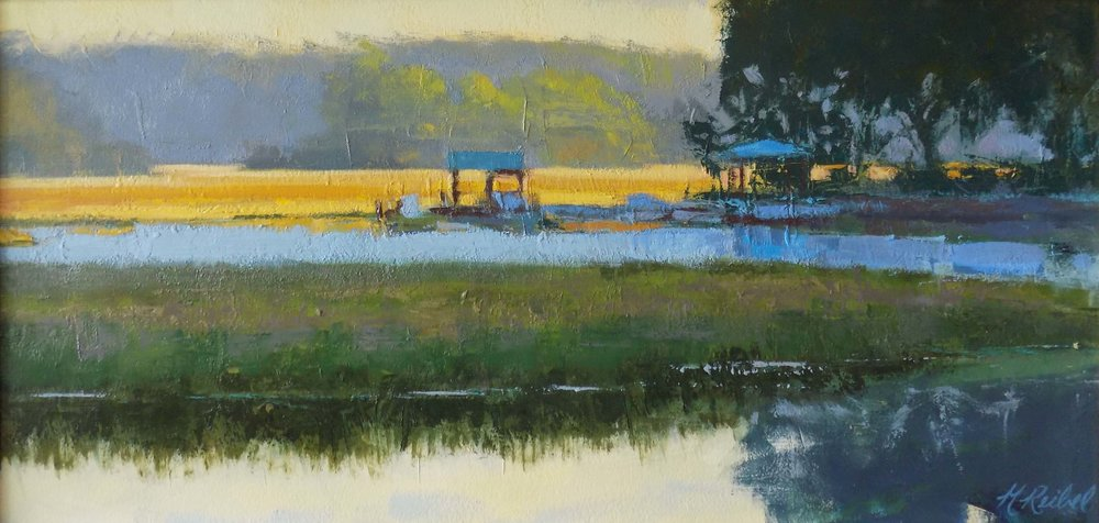 """The Golden Hour, Highway 21 North""  Oil on Arches Paper  10"" x 20"""