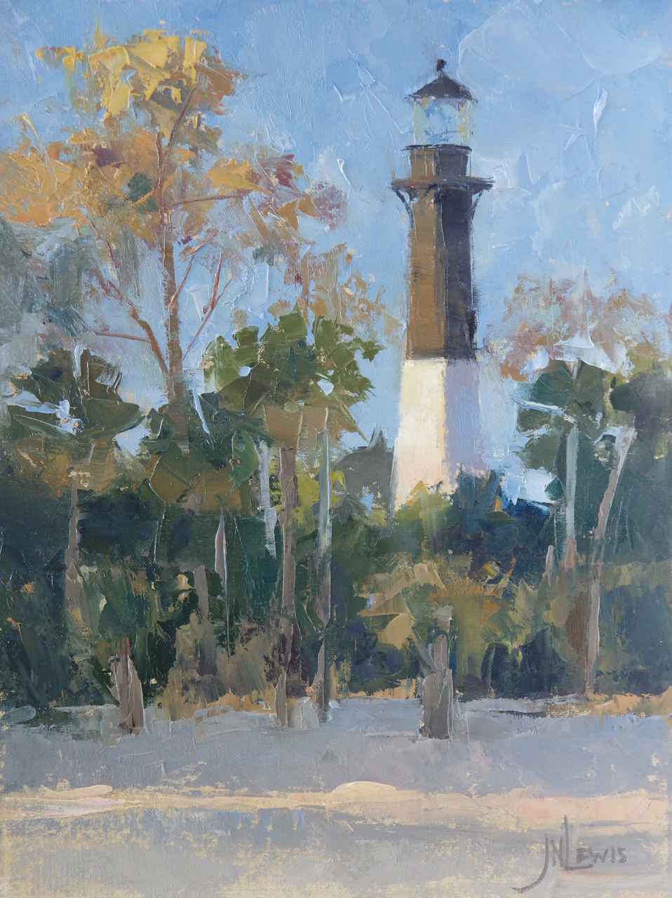 """Hunting Island Light""  Oil on Canvas  16"" x 12"""
