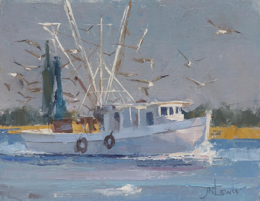 """Sunlight On A Shrimper""  Oil on Canvas  11"" x 14"""