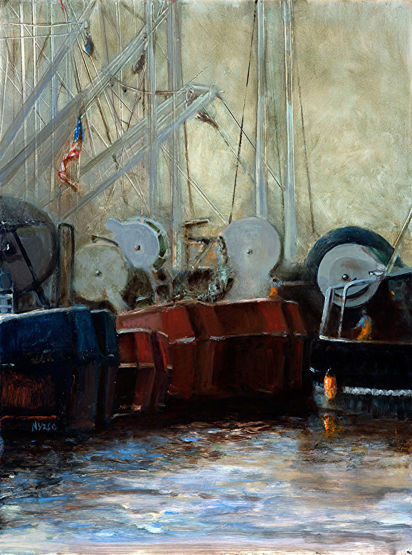 """Net Drums""  Oil on Panel 16"" x 12"""