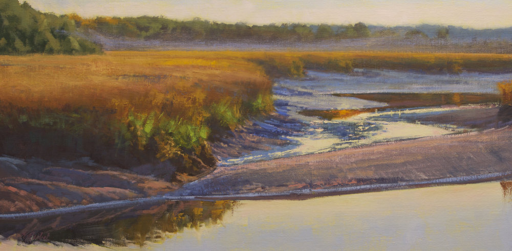 """Falling Tide, Huspah Creek""  Oil on Linen  20"" x 40"""