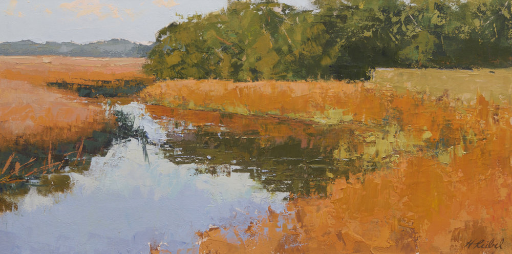 """The Marsh In Orange""  Oil on Arches Paper  12"" x 24"""