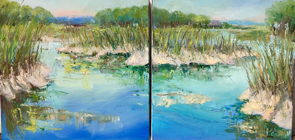 """Around the Weeds""  Oil on Canvas  20"" x 20"" (20"" x 40"" diptych)"