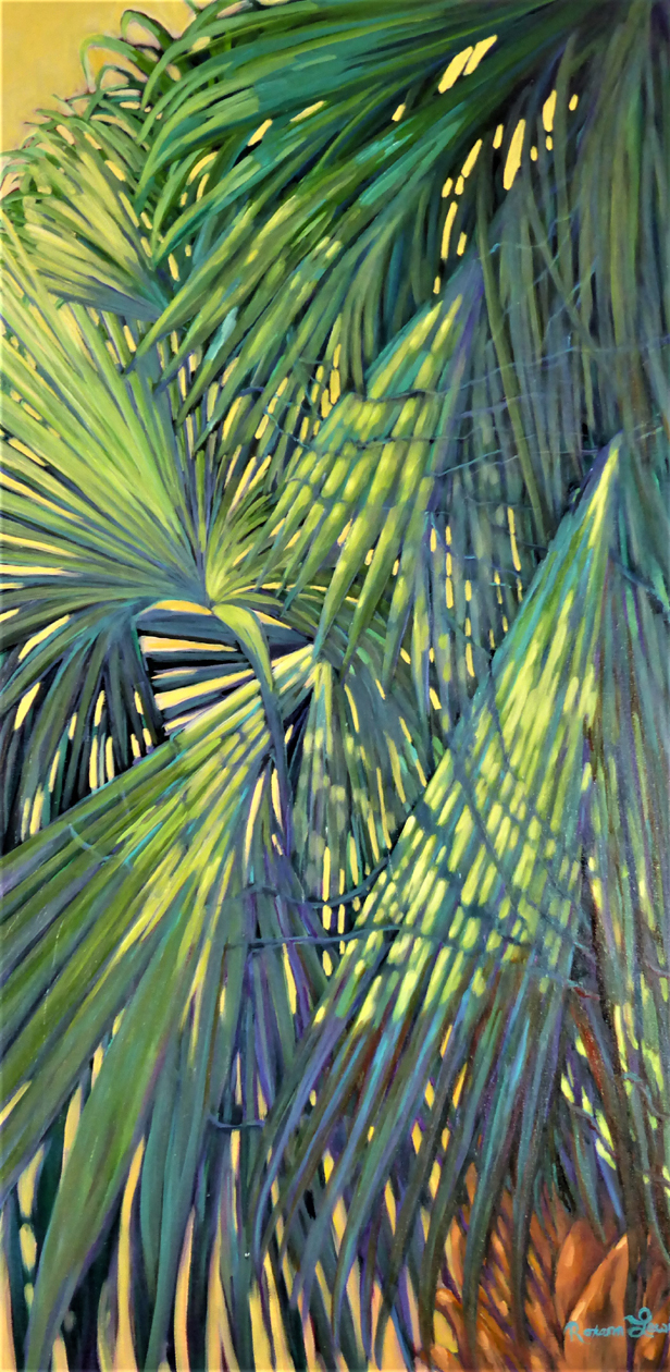 """Cool Palms On A Sunny Day 1""  Oil on Canvas  40"" x 20"""