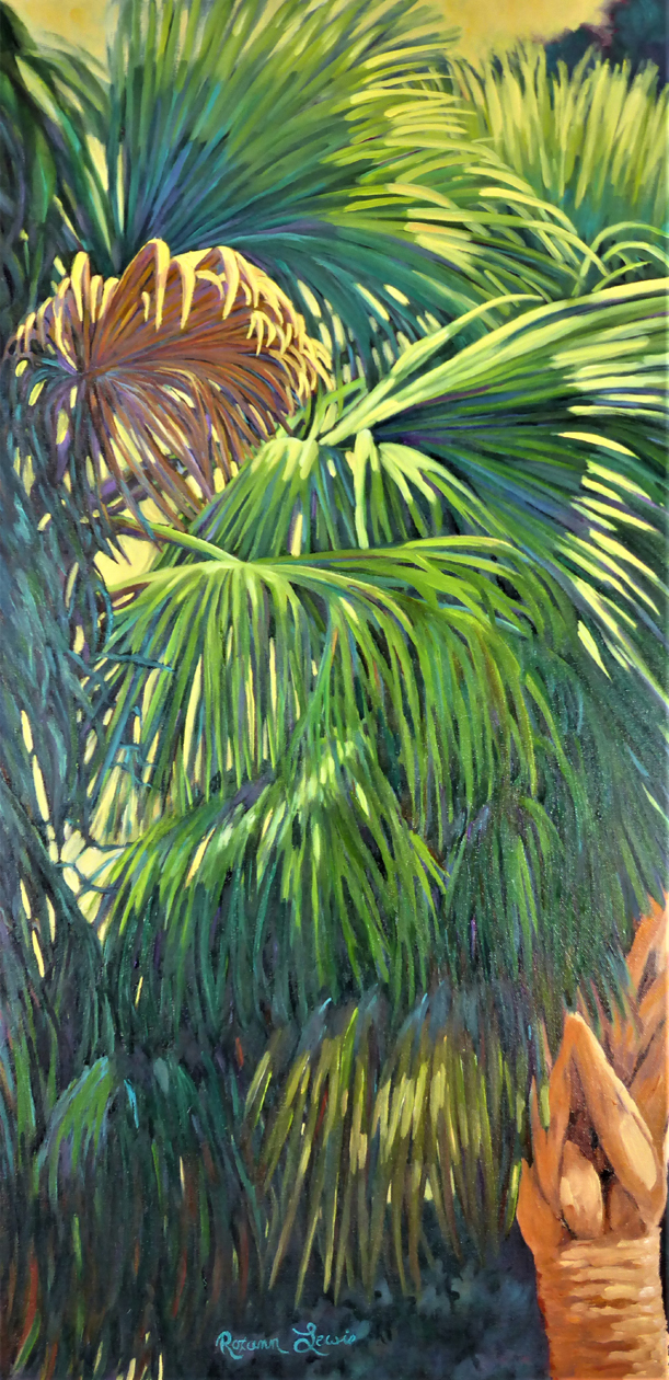 """""""Cool Palms On A Sunny Day 2""""  Oil on Canvas  40"""" x 20"""""""